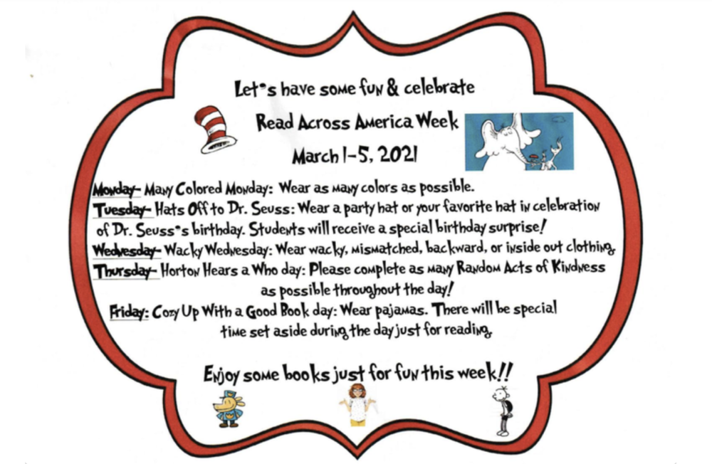 Read Across America Week, March 1 - 5, 2021