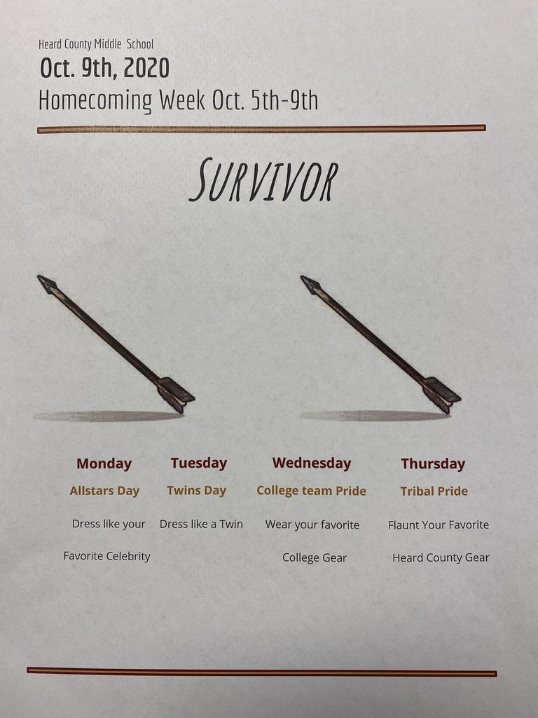 HCMS Homecoming Week Dress Up Themes