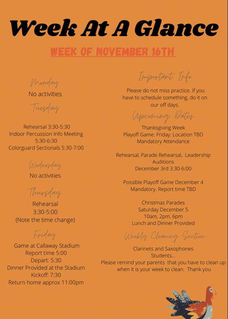 Week at a Glance 11/16