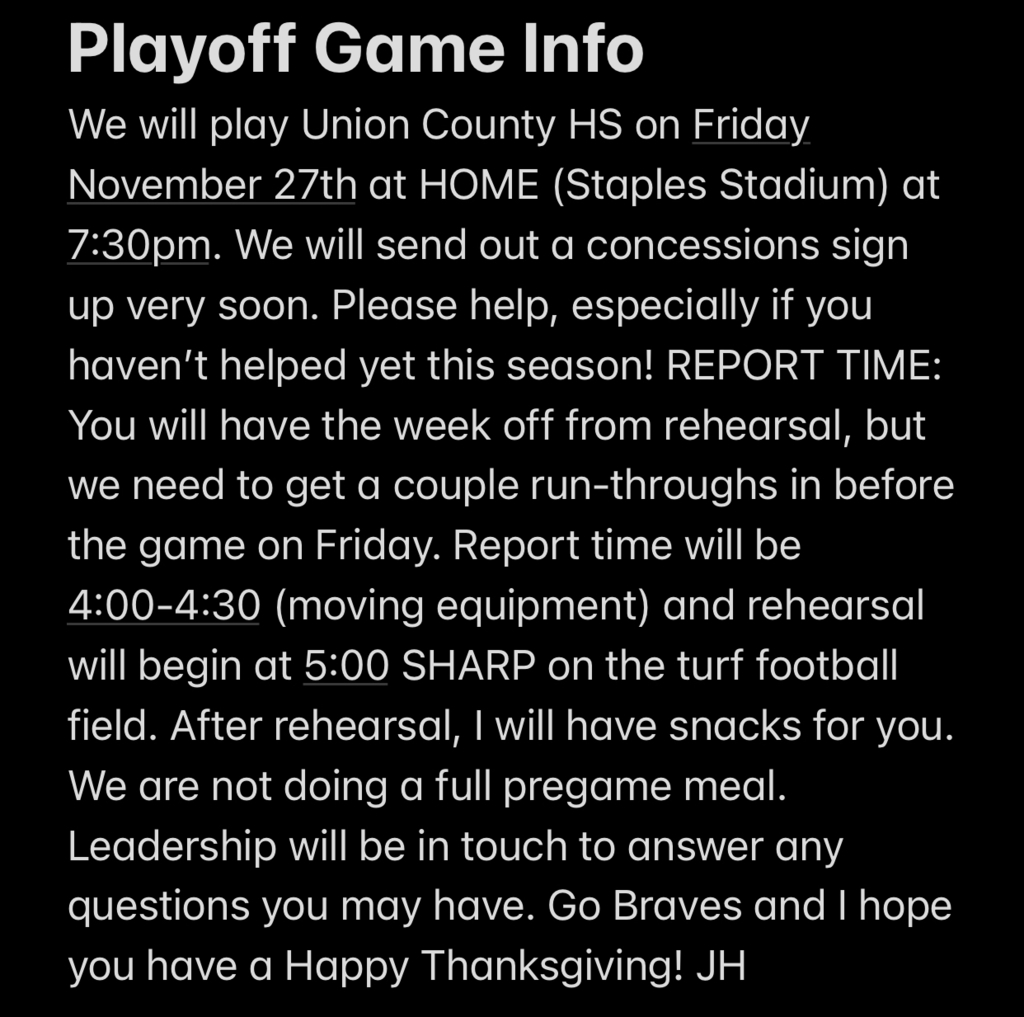 Playoff Game Info