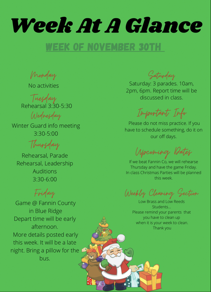 Week at a Glance 11/30
