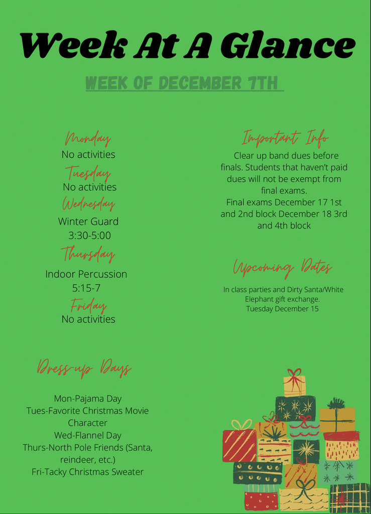 Week at a Glance 12/7