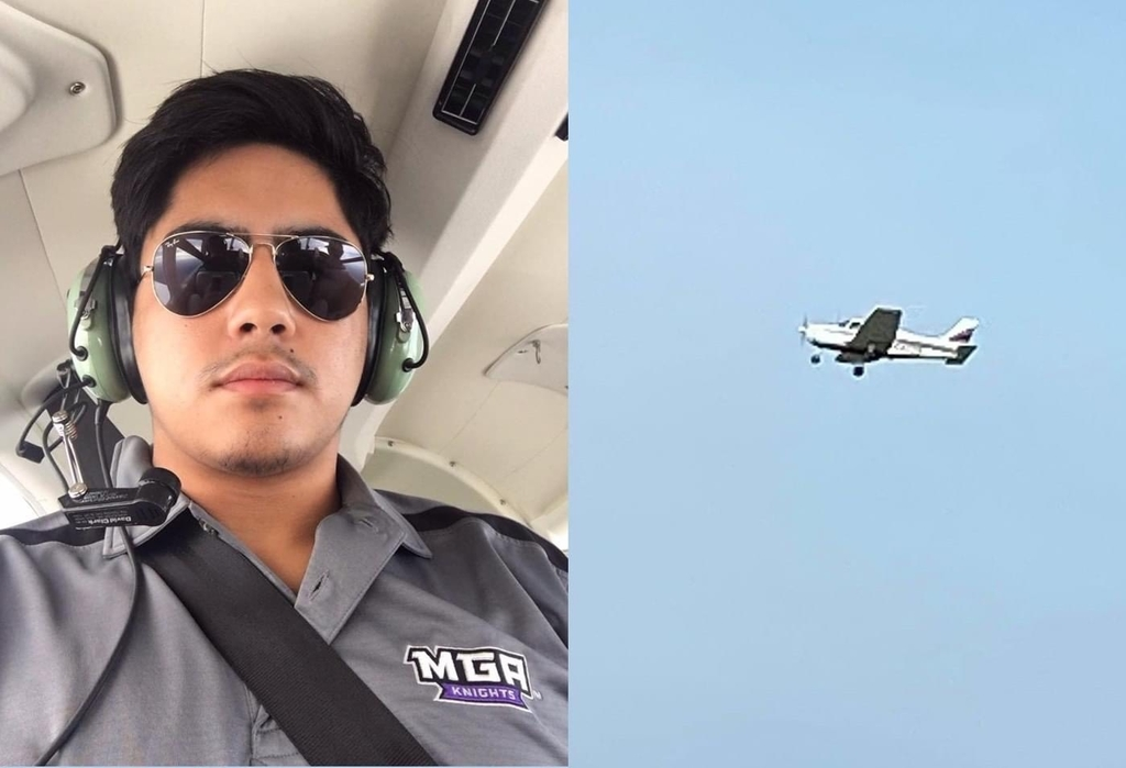 Michael Cheney on his first solo flight