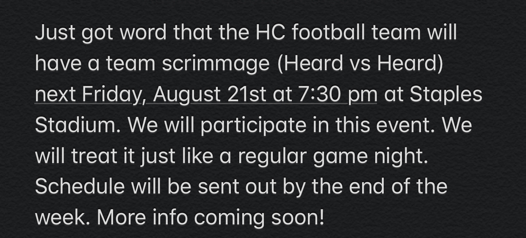 Scrimmage Game 8/21