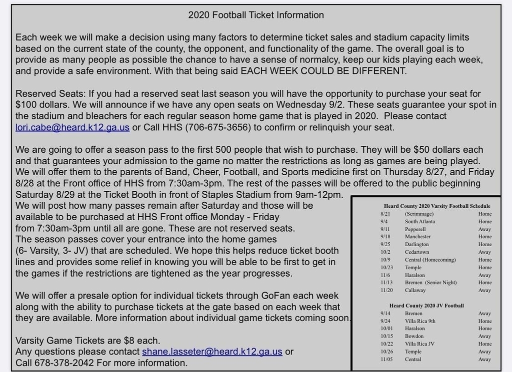 2020 FOOTBALL TICKET INFO